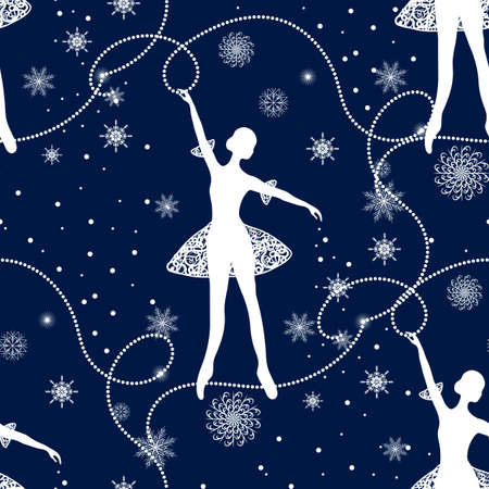Seamless winter pattern with tender ballerina and snowflakes.