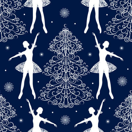 Seamless winter pattern with tender ballerina and fir trees. Çizim