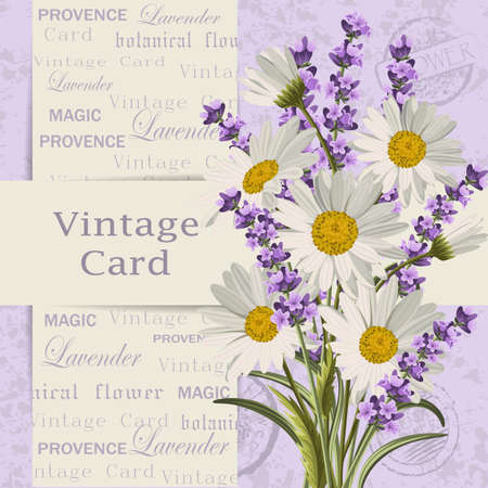 Vintage card with flowers.