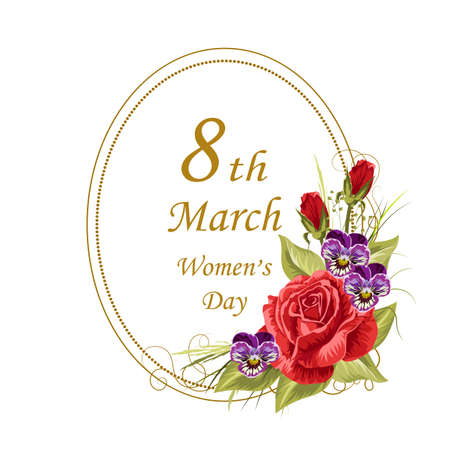 Womens day greeting card, 8th of March.