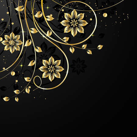 Gold flower pattern with shadow on dark background. Vector illustration.
