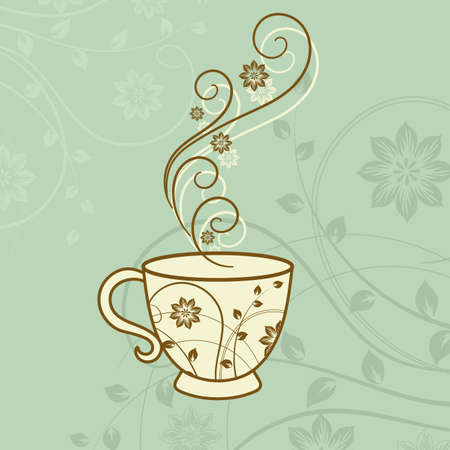 A cup of tea with floral design elements. Vector illustration Stock Illustratie