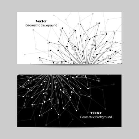 Ensemble de bannières horizontales. Motif géométrique avec lignes et points connectés. Illustration vectorielle.