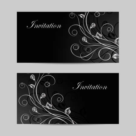 Set of horizontal banners. Silver flowers with shadow on dark background.