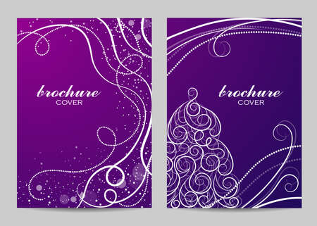 Brochure template layout design. Beautiful winter pattern on violet background.