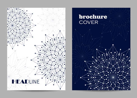 Brochure template layout design. Abstract geometric background with connected lines and dots Foto de archivo - 112685779