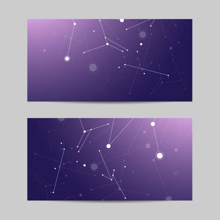 Set of horizontal banners. Geometric pattern with connected lines and dots. Vector illustration on violet background.