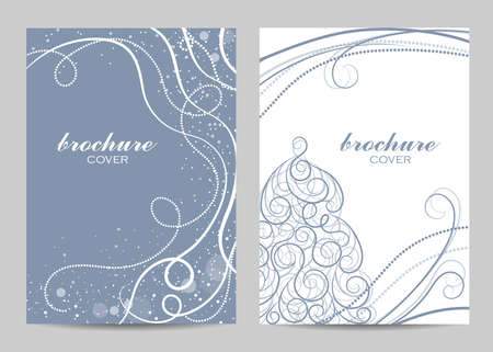Brochure template layout design. Beautiful winter pattern on blue background. Imagens - 127441942