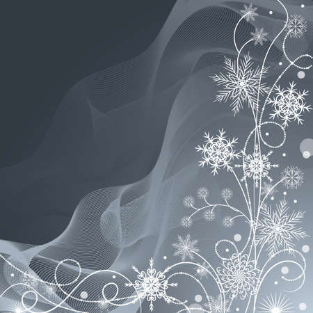 Beautiful winter pattern made of snowflakes on gray background.