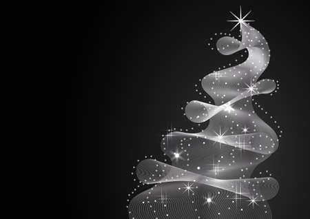 Sparkling Christmas Tree made of wave flow. Vector illustration on black background.