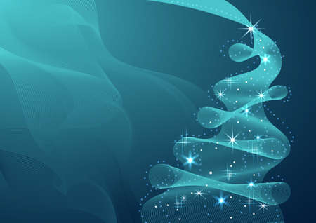 Sparkling Christmas Tree made of wave flow. Vector illustration on blue background.
