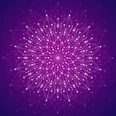 Geometric pattern with connected lines and dots. Vector illustration on violet background
