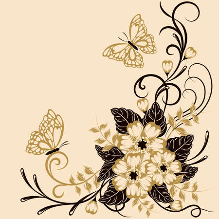 Beautiful floral background with butterflies in black and yellow colors with place for your text. Ilustração