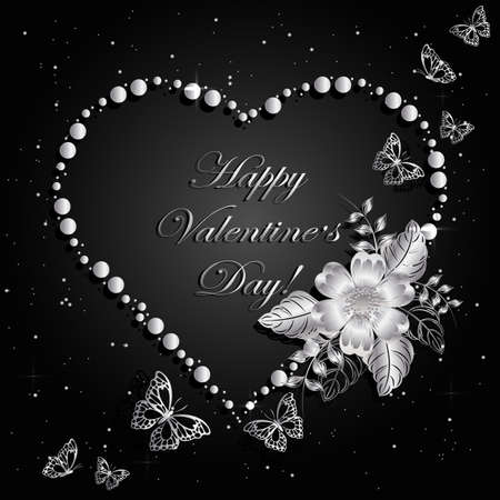 Happy Valentines day greeting card. Beautiful silver frame in shape of a heart on magic space background with flower and butterflits