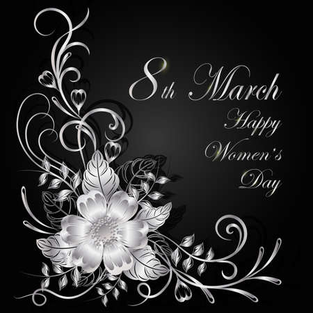 8 March lettering greeting card. Beautiful silver flowers on dark background with shadow.