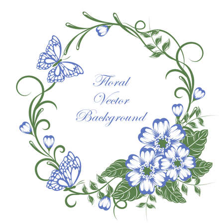 Beautiful floral background with butterflies in green and blue colors with place for your text.
