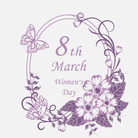8 March lettering greeting card with beautiful flowers on white background.