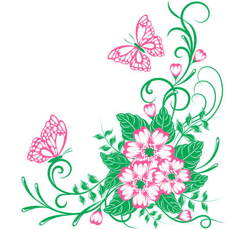 Beautiful floral background with butterflies in green and pink colors with place for your text. Ilustrace
