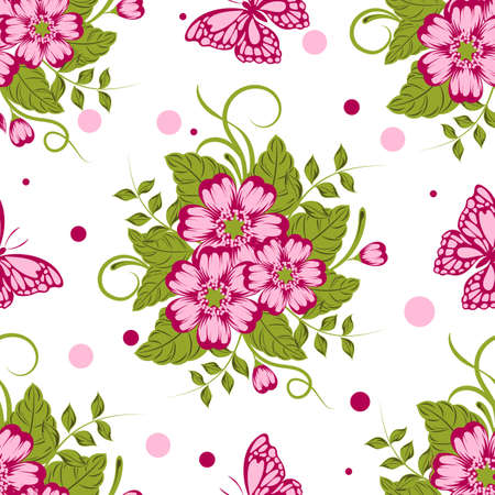 Seamless pattern with beautiful flowers and butterflies. Vector illustration.