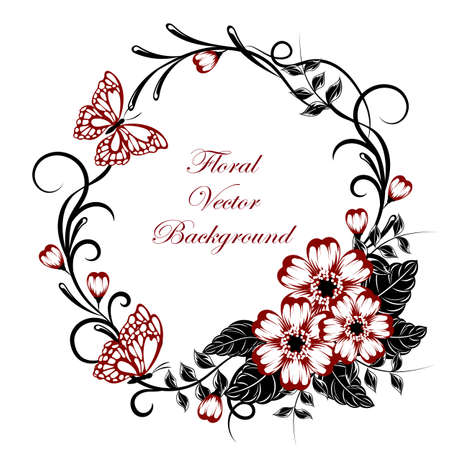 Beautiful floral background with butterflies in red and black colors with place for your text. Ilustração