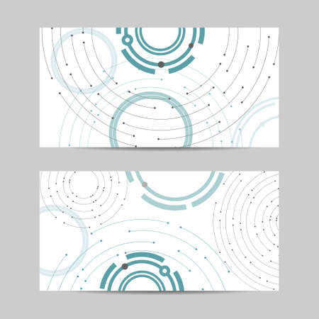 Set of vertical banners. Geometric pattern with connected lines and dots. Ilustração