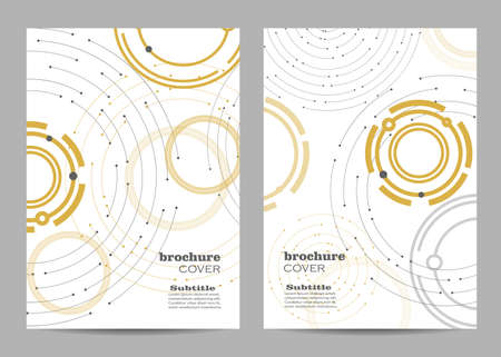Brochure template layout design. Geometric pattern with connected lines and dots. 向量圖像