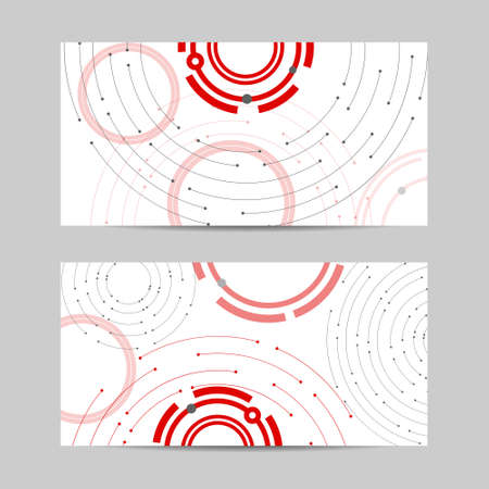 Set of horizontal banners. Geometric pattern with connected lines and dots.