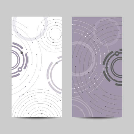 Set of vertical banners. Geometric pattern with connected lines and dots. Illustration