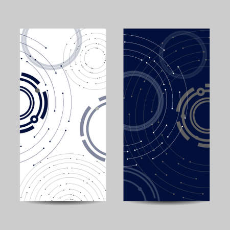 Set of vertical banners. Geometric pattern with connected lines and dots. Illusztráció