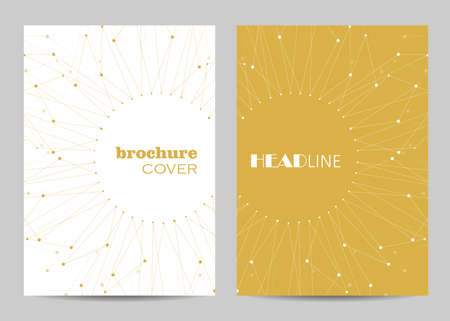Brochure template layout design. Abstract geometric background with connected lines and dots Imagens - 127922832
