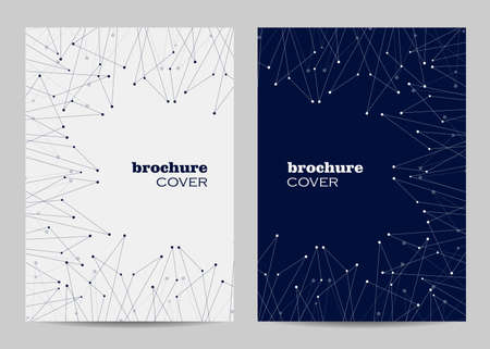 Brochure template layout design. Abstract geometric background with connected lines and dots Imagens - 127922837