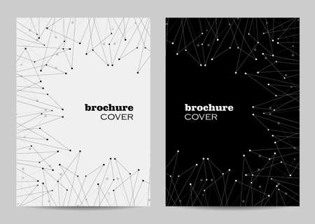 Brochure template layout design. Abstract geometric background with connected lines and dots Ilustração