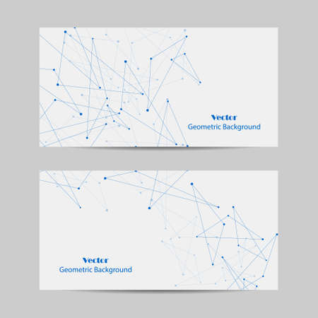 Set of horizontal banners. Geometric pattern with connected lines and dots. Imagens - 130911045