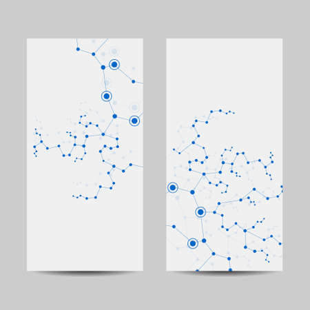 Set of vertical banners. Geometric pattern with connected lines and dots. Vector illustration. Imagens - 130387747