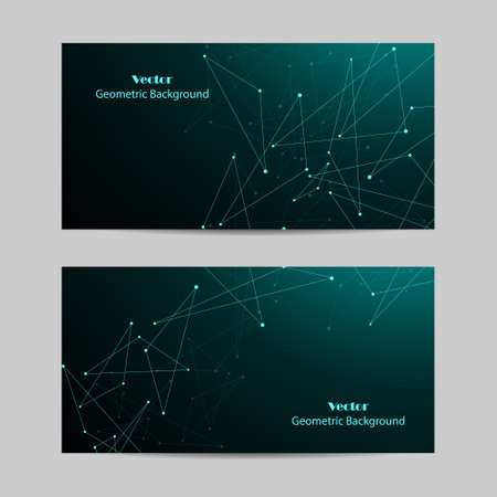 Set of horizontal banners. Geometric pattern with connected lines and dots. Imagens - 131695605