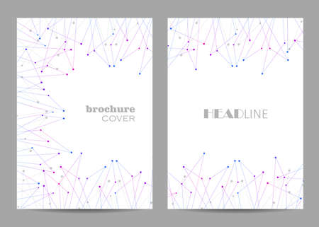 Brochure template layout design. Abstract geometric background with connected lines and dots Çizim