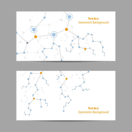 Set of horizontal banners. Geometric pattern with connected lines and dots. Vector illustration. Çizim