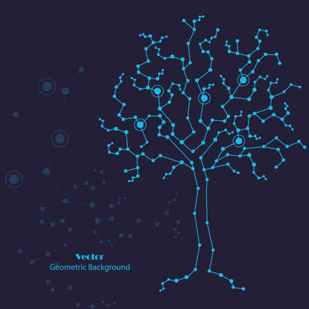 Science tree made of connected lines and dots on blue background. Imagens - 132304433