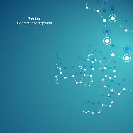 Technical abstract background with connecting dots and lines Imagens - 132460819