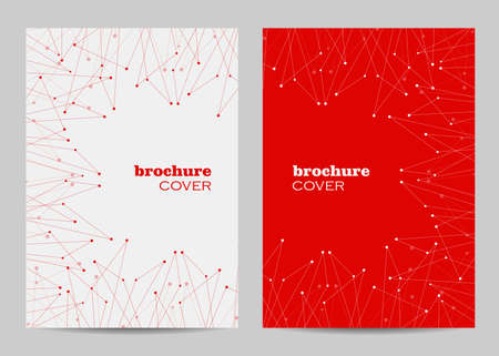 Brochure template layout design. Abstract geometric background with connected lines and dots Imagens - 132461224