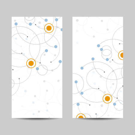 Set of vertical banners. Abstract geometric background with connected circles and dots. Vector illustration Çizim