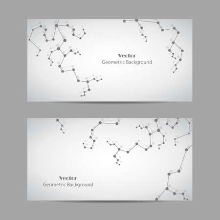 Set of horizontal banners. Geometric pattern with connected lines and dots Ilustração