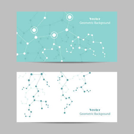 Set of horizontal banners. Geometric pattern with connected lines and dots Imagens - 132762437