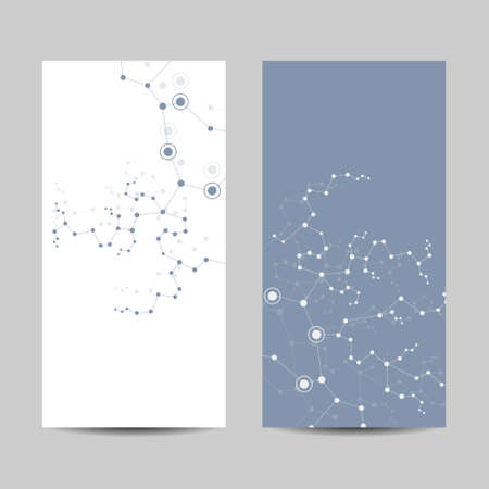 Set of vertical banners. Geometric pattern with connected lines and dots. Çizim