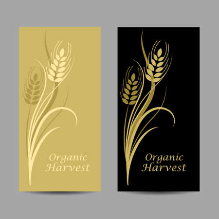 Set of vertical banners. Wheat spikelet on yellow and black background