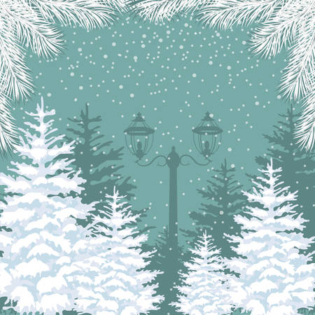 Vector winter background. Snowfall, fir trees and lanterns. Outside park landscape Çizim