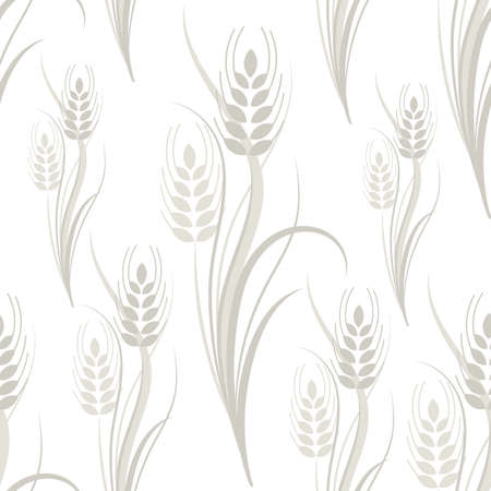 Seamless pattern with gray wheat spikelets on a white isolated background. Vector illustration Çizim