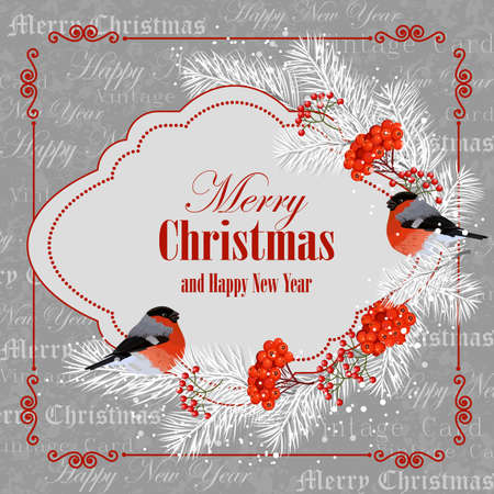 Christmas and New Year greeting card with bullfinches, pine branches and rowan berries.