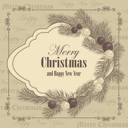 Merry Christmas and New year greeting card with tree branches decorated with balls in vintage style