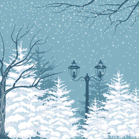 Vector winter background. Snowfall, fir trees and lanterns. Outside park landscape 일러스트